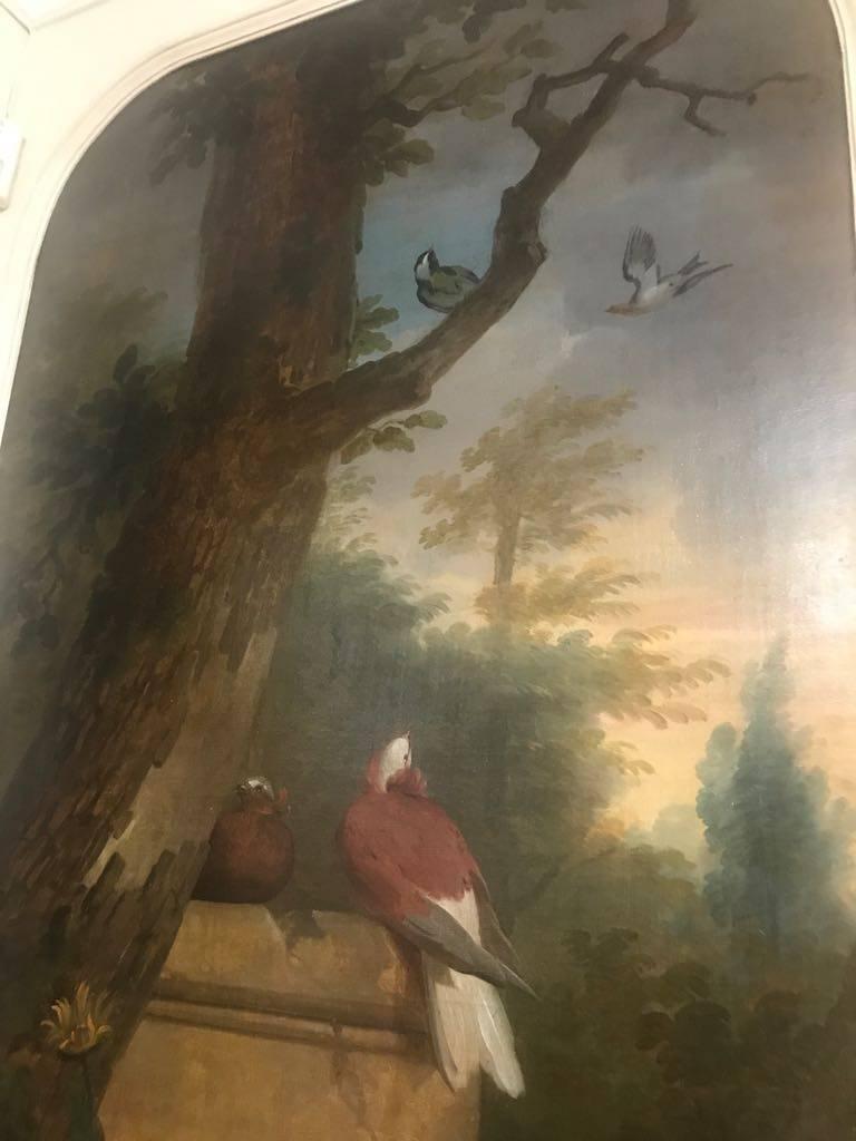 Ornamental Birds in a Landscape - Painting by Aert Schouman