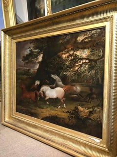 A Huge 18th Century oil of Horses frightened by a Lightning Bolt by Gilpin