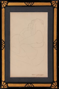 The Two Friends  by Gustav Klimt - An Original Drawing