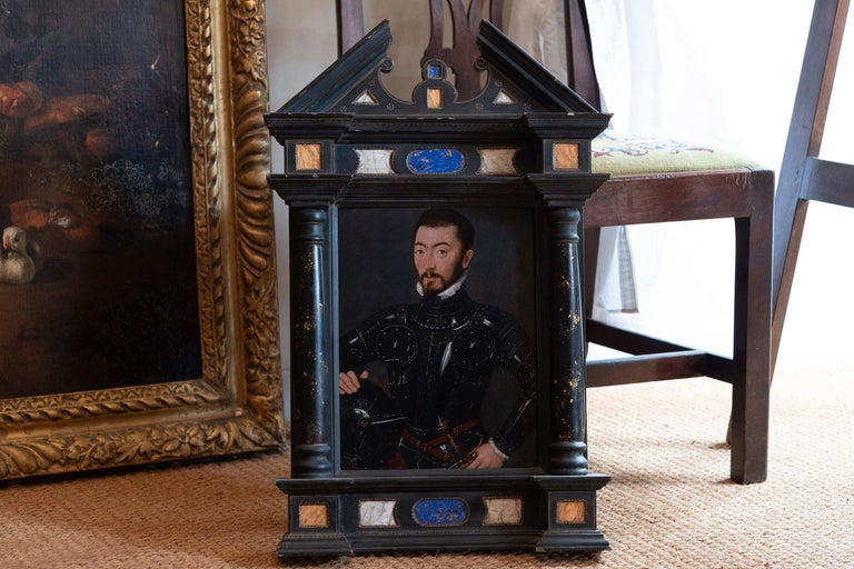 An exquisite 16th century painting of a Nobleman in Armour  - Painting by French Court Painter circa 1560
