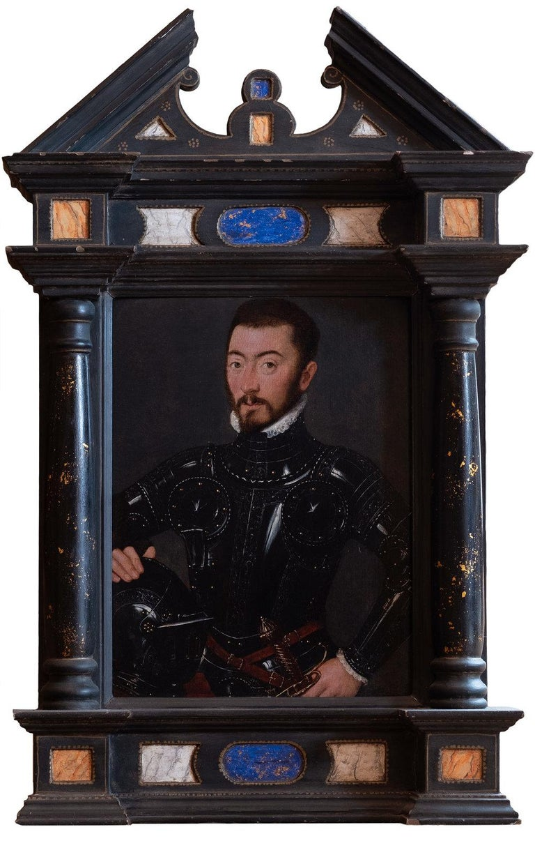 An exquisite 16th century painting of a Nobleman in Armour  - Black Figurative Painting by French Court Painter circa 1560