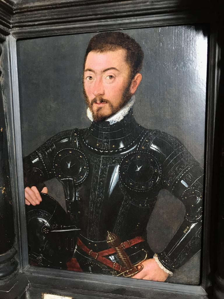 French Court Painter of the mid-16th century  An exquisite painting of a Nobleman in Armour with profoundly delicate handling   Painted circa 1560   Oil on panel  13 x 10 inches, 32.5 x 25 cm;  25.5 x 16 inches, inc. frame  Provenance Private