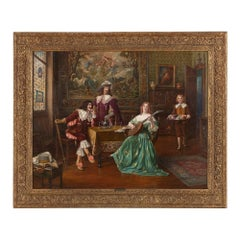 'The Music Lesson', 19th Century oil painting of an interior with figures