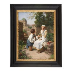 'The Romantic Proposal in the Gardens', 19th Century oil painting of a couple