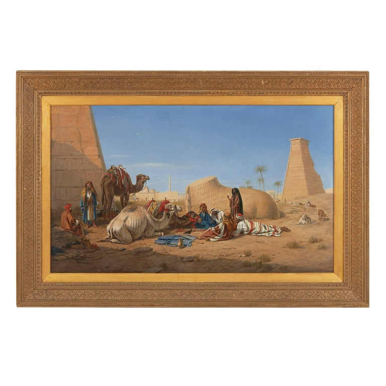 'Bedouins and Camels Resting Amongst Ruins', 19th Century Orientalist painting