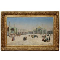 Orientalist oil painting of the courtyard of a mosque complex in Central Asia
