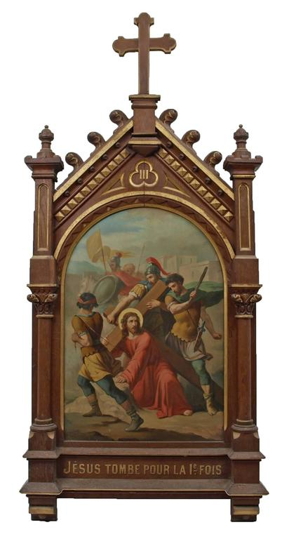 Set of fourteen 19th Century religious paintings of the Stations of the Cross - Brown Figurative Painting by Unknown