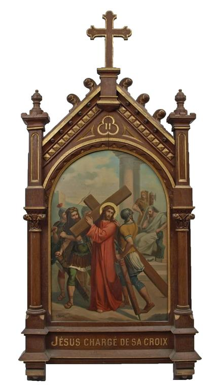 Set of fourteen 19th Century religious paintings of the Stations of the Cross - Baroque Painting by Unknown