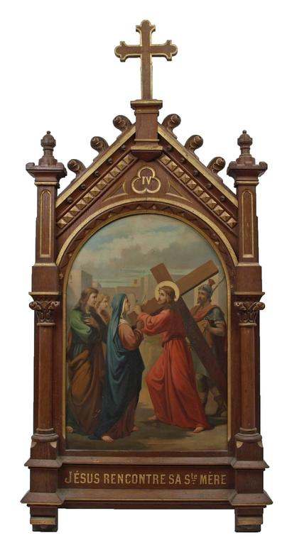 This exceptional set of fourteen oil on copper 19th Century paintings follow the chronological progression of Christ's final hours, as told in the Christian Biblical tradition. Set in elaborate wooden frames decorated with parcel gilt highlights and