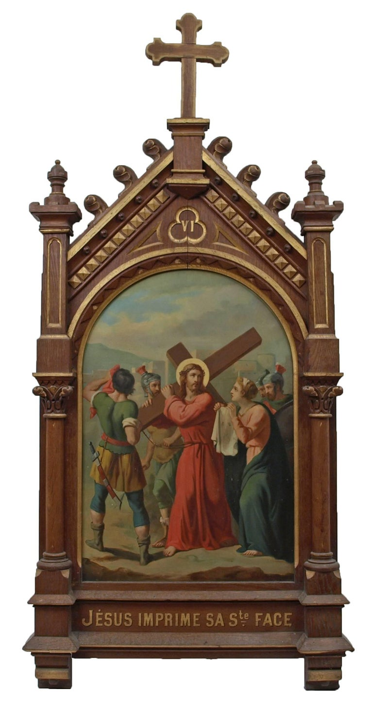 Set of fourteen 19th Century religious paintings of the Stations of the Cross 7