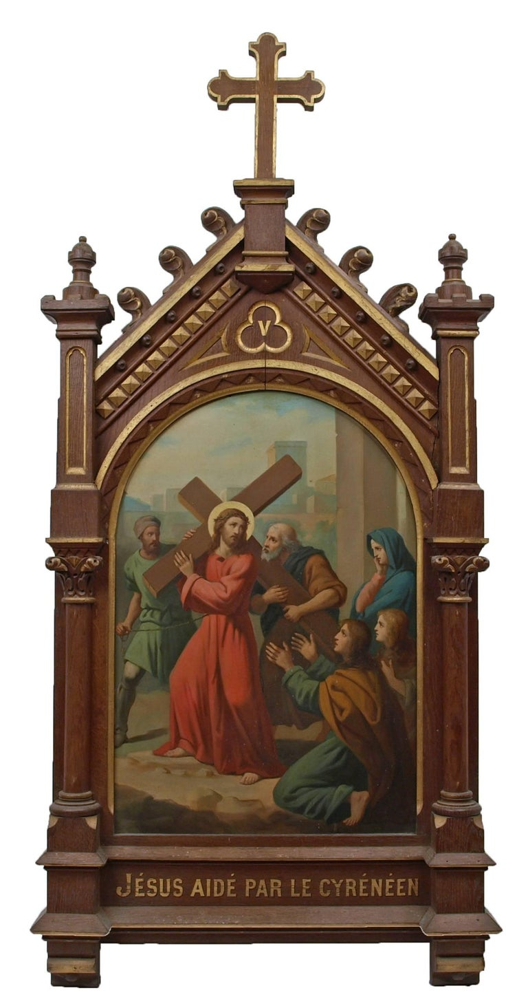 Set of fourteen 19th Century religious paintings of the Stations of the Cross 6