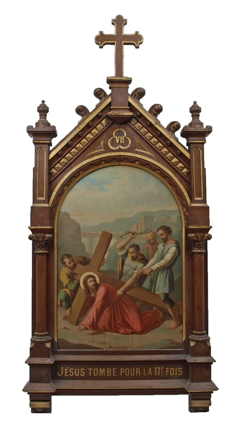 Set of fourteen 19th Century religious paintings of the Stations of the Cross 8