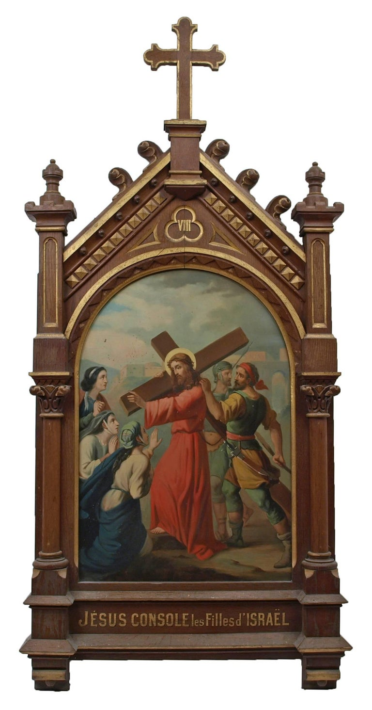 Set of fourteen 19th Century religious paintings of the Stations of the Cross 9