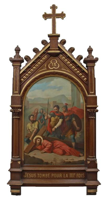 Set of fourteen 19th Century religious paintings of the Stations of the Cross For Sale 5