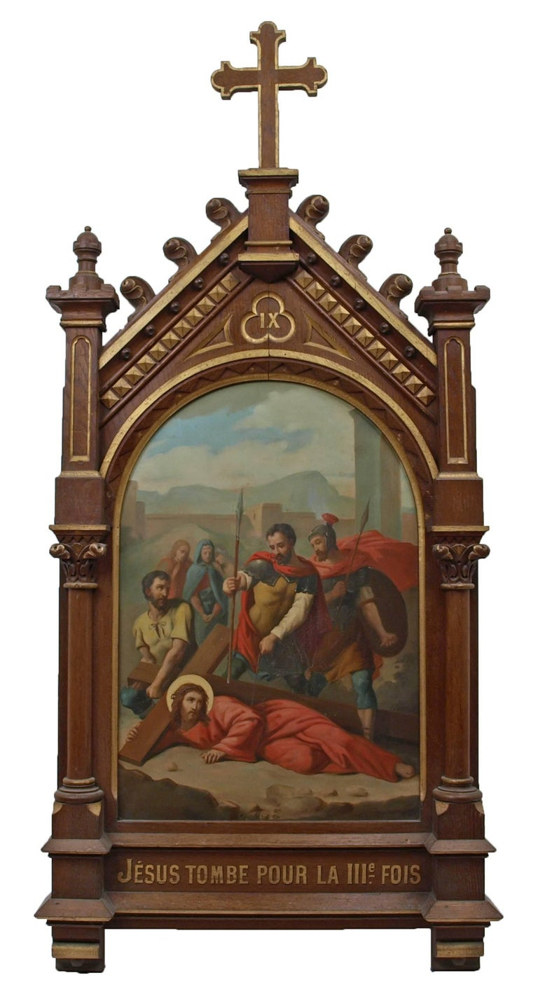 Set of fourteen 19th Century religious paintings of the Stations of the Cross 10