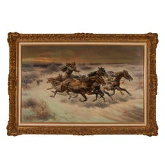 'The Chase', early 20th Century oil painting of a Russian Cossack with horses
