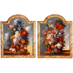 Pair of still life 18th Century oil paintings of flowers in vases