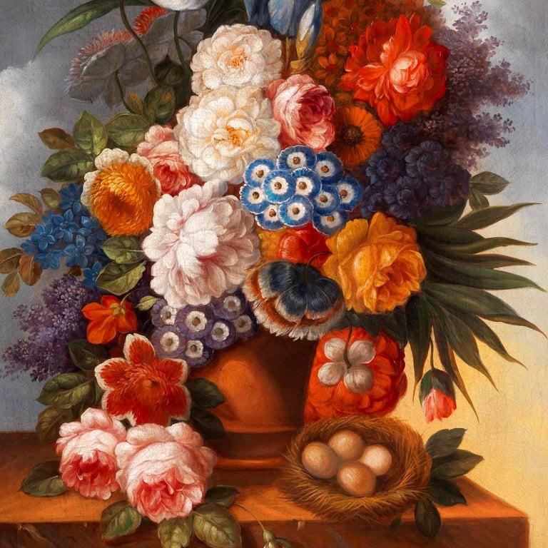 Unknown Pair Of Still Life 18th Century Oil Paintings Of Flowers