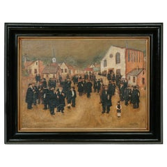 20th Century oil painting of the Jewish Chassidic community by the synagogue