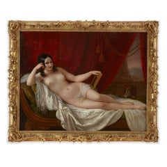 Large 19th Century oil painting portrait of Fanny Elssler as the goddess Venus