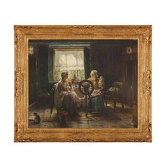 'Spinning the Wool', 19th Century Flemish oil painting of two ladies