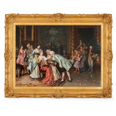 'The Successful Suitor', 19th Century oil on canvas painting in a giltwood frame