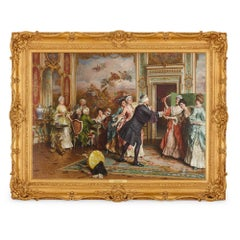19th Century oil on canvas in a carved golden giltwood frame, 'Blindman's Bluff'