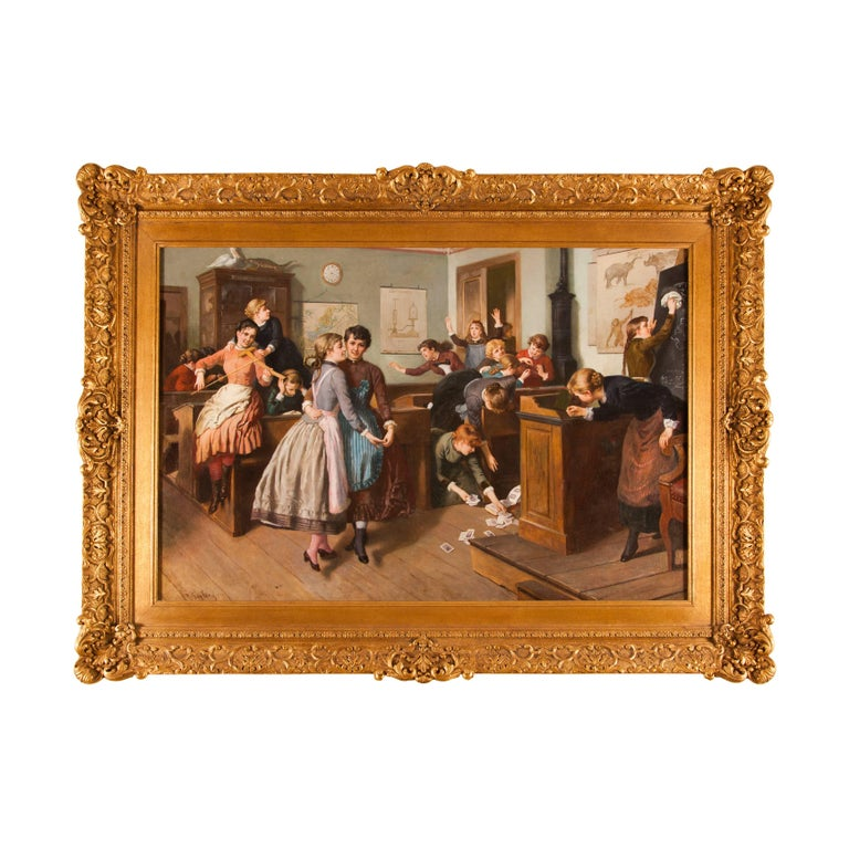 Noise in the Classroom, figurative oil painting in giltwood frame