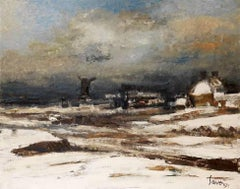 Winter Landscape by Albert Saverys, antique 20th Century oil painting