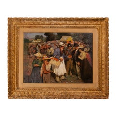 Antique English oil painting after Sir Alfred Munnings, 'A Gala Day'