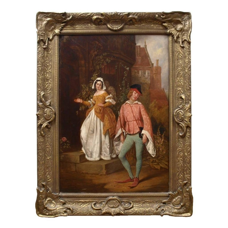 Antique oil painting of a scene from Shakespeare's Merry Wives of Windsor