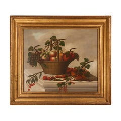 Old Master still life oil on canvas painting of a fruit basket
