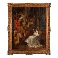 Oil painting showing seated lady in carved giltwood frame by A. Leonardon