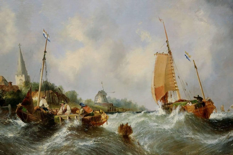 Maritime seascape, antique oil painting by William Callcott Knell  2
