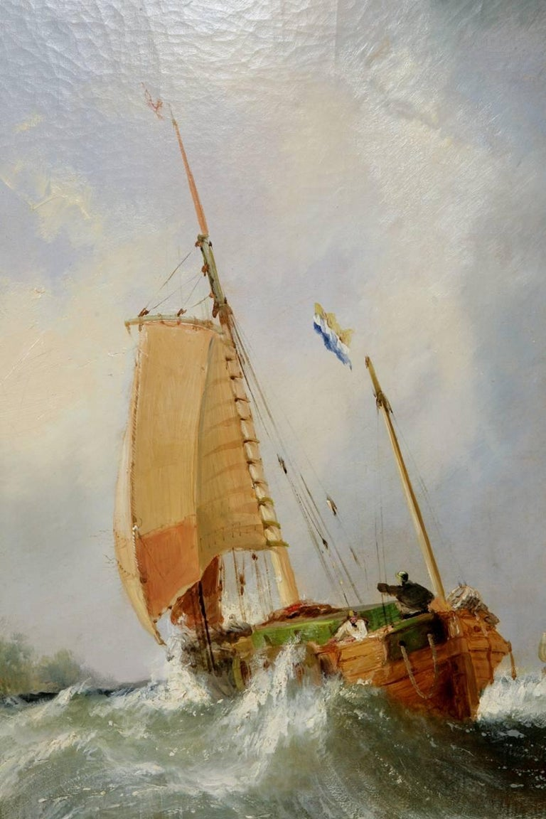 Maritime seascape, antique oil painting by William Callcott Knell  3