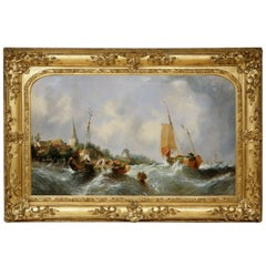 Maritime seascape, antique oil painting by William Callcott Knell