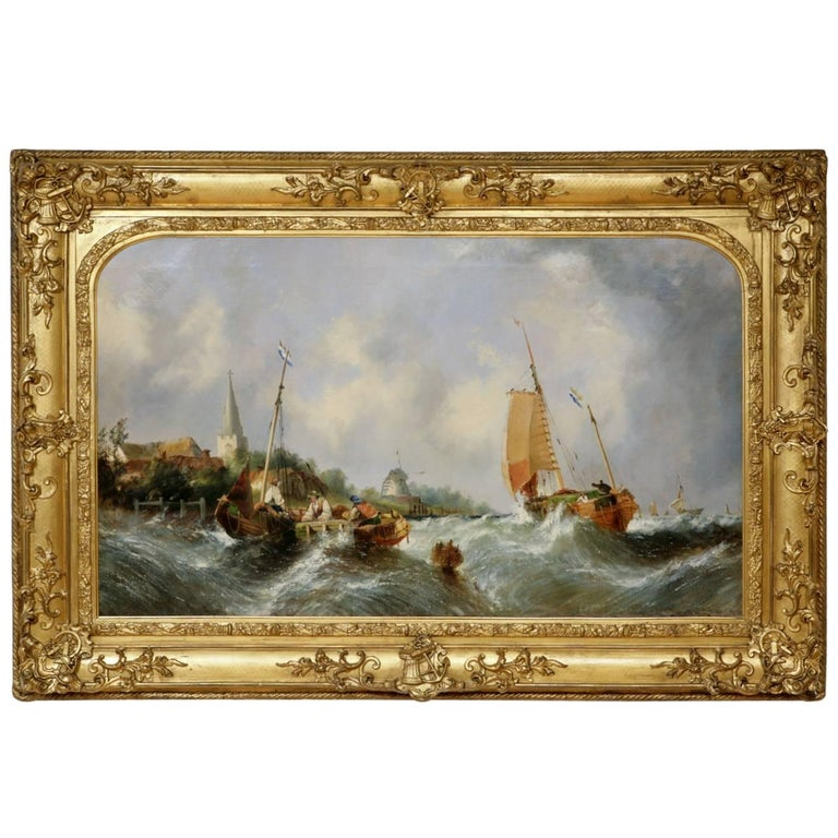 Maritime seascape, antique oil painting by William Callcott Knell  1