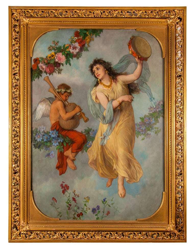 Pair of antique allegorical oil paintings showing the senses Sound and Taste - Painting by Georg Cornelius