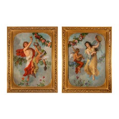 Pair of antique allegorical oil paintings showing the senses Sound and Taste