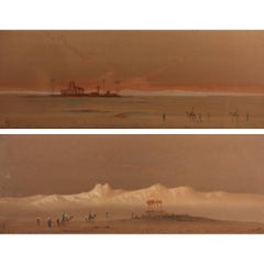 Egyptian Desert Scenes, two orientalist watercolors by Henry Stanton Lynton