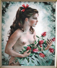 Oil painting of a young nude woman holding roses by Talwinski