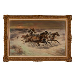 Russian oil painting 'The Chase' signed C. Stoiloff