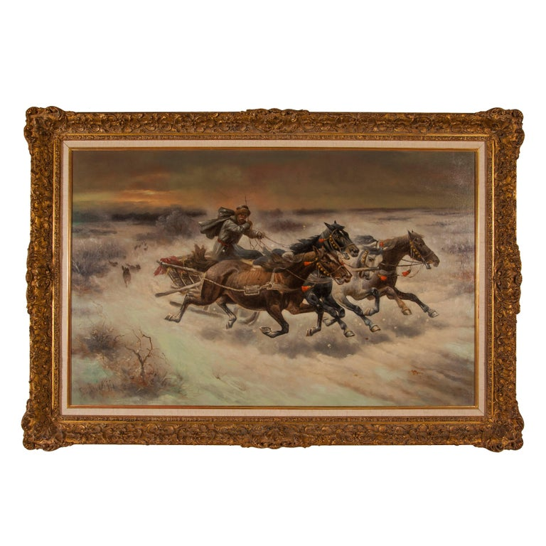Adolf Constantin Baumgartner-Stoiloff Landscape Painting - Russian oil painting 'The Chase' signed C. Stoiloff