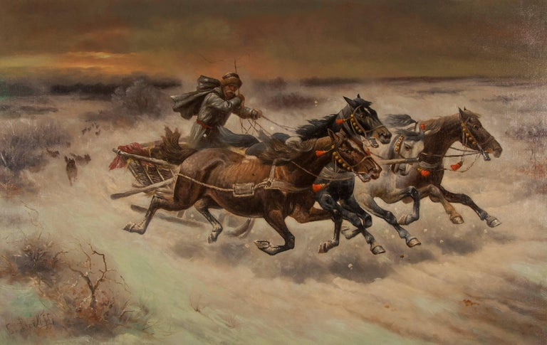 Russian oil painting 'The Chase' signed C. Stoiloff - Painting by Adolf Constantin Baumgartner-Stoiloff
