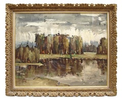 20th Century Expressionist oil painting 'An Autumn Lake Scene'
