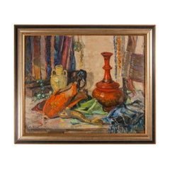 20th Century still life oil painting of Oriental objects by M. Pollitt