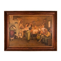 Watercolour painting of Russian peasants feasting by Teikh, 1872