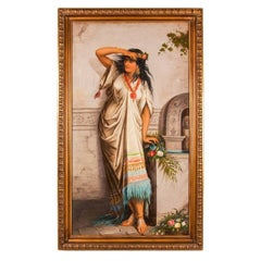 Late 19th Century antique Orientalist oil painting of a young woman