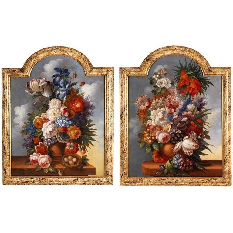 Unknown Still-Life Painting - Still life with flowers, antique 18th Century oil paintings