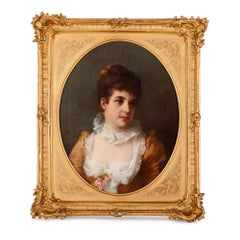 German oil on canvas portrait of a lady by Erdmann